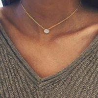 Simple Link Chain Round Cubic Zircon Pendant Earrings 316L Stainless Steel Single Diamond CZ Choker Necklace