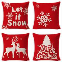 2021 45*45cm New Linen Super Soft Short Plush Christmas Decorations Cushion Holiday Pillowcase A17