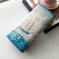 Designer-handgemachte Frauen, die das blaue Sea Segelboot Geldbörsen karpfen
