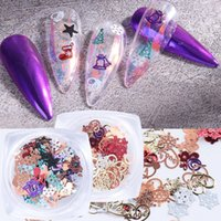 Nail Art Decoration Christmas Metal 3D Snowflake Garland Xmas Tree Flower hollow Sequins Art Craft Jewelry Alloy