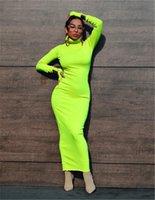 High Collar Womens Designer Kleider Massivfarbe Herbst Winter Slim Frauen Casual Dress Heißer Verkauf Kleidung