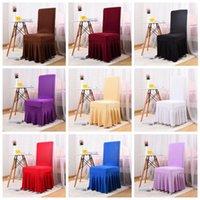 24 färger skirted stol täcker spandex lycra universal ruffled stol täcke bröllopsfest hotell bankett dekoration ruched solid