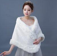 Women Fur Capes Champagne Wedding Faux Bolero Stole Shawl Wraps Bridal Jacket Formal Party Shrug Cape De Mariage