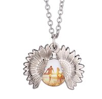 Pendants Sublimation Sunflower Necklace Thermal Transfer Printing Neclaces Gold and Silver Blank Metal Zinc Alloy Ornaments SN4193