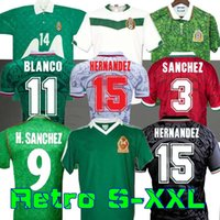 1995 ريترو المكسيك بلانكو لكرة القدم جيرسي 1986 1994 1998 هيرنانديز H.Sanchez لكرة القدم Luis Garcia Campos القديمة Marquez 2006