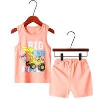 Opperiaya Kids 여름 2pc 아늑한 복장 민소매 클래식 - 라운드 넥 만화 귀여운 패턴 인쇄 탑스 탄성 밴드 반바지 세트