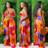 Plus Size Tracksuits Women Clothing Two Piece Set Sexy Halter Crop Tops And Wide Leg Pants Printed 2 Suits 3XL 4XL Beach Club Outfits