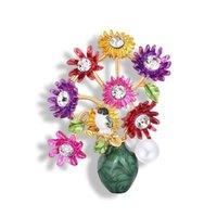 Pins, Broşlar 2021 Boyalı Inci Damla Emaye Çiçek Vazo Aksesuarları kadın Kristal Takı Büyük Broş Pin Hediye