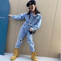 أزياء الفتيات الدنيم حللا 2021 الأطفال التلبيب رعاة البقر مرونة الخصر بذلة الاطفال هول كاوبوي عموما A5972