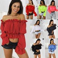 Kadın Bluzlar Gömlek Nokta Bluz Gömlek Kadınlar Yaz Bayan Tops Ve Harajuku Üst Tee Streetwear Moda Slash Boyun Zarif Artı Boyutu
