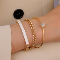 Charm Bracelets Alloy Metal Bar Chain Bracelet Rose Gold Gold Crystals CZ Link Cable Bangles For Women Girls Wedding Layering Jewelry
