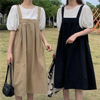 Casual Dresses Sleeveless Dress Women Solid Maxi Preppy Loose-waist Simple Japan Style College Ladies Summer Pregnant Daily Fashion