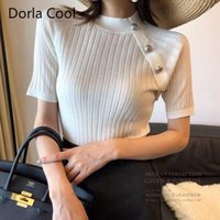 Women's Sweaters Knitted Tops Sexy Hollow Out Designer Buttons Solid Super Elastic Chic Jumpers Lady's Sweet Pullover Tees