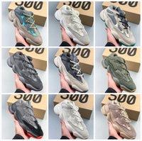 2021 Toppkvalitet Kanye 500 Mens Running Shoes Enflam Soft Vision Bone Vit Svart Blush Super Moon Yellow Salt Rosa Män Kvinnor Sport Sneakers Trainer med låda