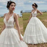 Sexy Ivory Beaded Lace Wedding Gowns Deep V Neck Tiered Train Plus Size A Line Bohemian Garden Country Bridal Party Dresses Vestido De Novia