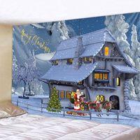 Tapices de Navidad Tapicería de Navidad Santa Claus Elk regalos de entrega de pared Decoración de vacaciones Decoración de vacaciones Artículos para el hogar Big Blanke