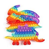 US STOCK Party Favor Rainbow Fidget Toys Simple Stress Relief Cartoon Camouflage Dinosaur Adults Children Sensory Desktop Educational Toy