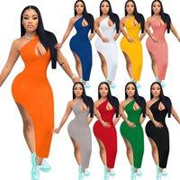 Eğimli Omuz Seksi Bandaj Parti Elbise Kadınlar Için Oymak Yan Yüksek Bölünmüş Skinny Moda Vücut Şekillendirme Sundress Yeni