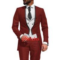 Custom-made Double-Breasted Groomsmen Collarless Groom Tuxedos Men Suits Wedding Prom Dinner Man Blazer(Jacket+Pants+Tie+Vest) W976