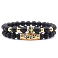 Calidad Hombres Set Pulsera Moda Hombres Homme Jewelry 8mm Piedra Natural Oro Negro Micro-incrustado Zircon CZ Ball Backed Bracelets