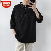 Lapel OLO Shirt Short Sleeve T-shirt Men's Korean Style Trend Half Hong Kong Loose Top #XL8p