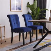 Soggiorno mobili in velluto tessuto in gomma gambe in legno cuscino originale densità di cotone originale 26 molla / chiodo condimento sgabello due set blu