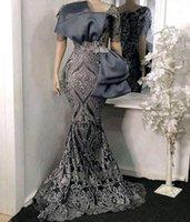 우아한 회색 2021 인어 이브닝 드레스 스팽글 Applique 긴 공식 무도회 가운 나이지리아 여성 가운 드 Soiree