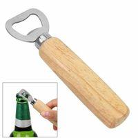 Abridor de botellas de cerveza de mango de madera El mango de color de madera original + alambre de metal Abrelaje de dibujo Botella de vino Herramienta GWD7461