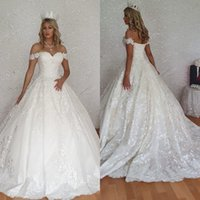 Elegant Ball Gown Arabic 2021 Wedding Dresses Off Shoulder Appliques Lace Bridal Gowns Sweep Train Plus Size Country Wedding Dress