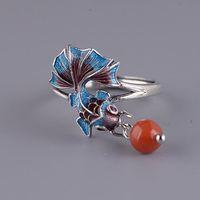 Nova prata estilo nacional chinês esmalte cor koi peixe pequeno retrô elegante charme sul vermelho borla tassel anel ajustável
