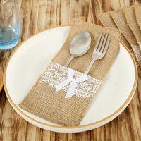 Storage Bags 20Pcs Linen Lace Bowknot Home Knife Spoon Holder Pouch Bag Kitchen Party Decor