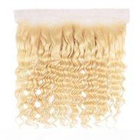 Tkwig cheveux 613 blonde fronts de dentelle d'onde profonde blonde oreille à l'oreille 100 paquets de cheveux humains avec fermeture en dentelle cueillie