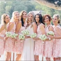 Pink Lace Bridesmaid Dresses Short A Line Above Knee Length Custom Made Plus Size Sash Scoop Neck Sleeveless Country Maid of Honor Gown vestidos