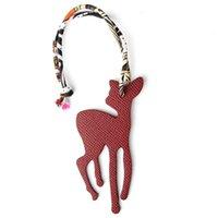 Famous Designer Luxury Real Silk Genuine Leather Seahorse Deer Keychain Backpack Pendant Animal Key Chain Women Bag Charm H0915