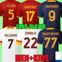 Üst Abraham Futbol Forması Dördüncü Zaniolo Roma Veretout Roma Pellegrini Kumbulla Totti El Shaarawy Shomurodov 21 22 Futbol Gömlek 2021 2022 Erkekler + Çocuk Kiti Üniforma 4th