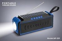 MF-209 Bluetooth Solar Charge Speaker with Flashlight FM Antenna Mobile Phone Holder Handsfree for Calling Stereo Hifi Soundbox TF USB MP3 Player Sports Loudspeaker