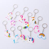 만화 유니콘 열쇠 고리 열쇠 고리 귀여운 동물 말 조랑말 디자인 PVC 키 체인 여자 여자 가방 매력 키 반지 펜던트 패션 쥬얼리 선물