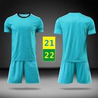 US FAST 21 22 Fotbollsuppsättningar Tracksuiter Cyan Short Sleeve Suit 2021 Fotboll bort Maillots Män Barn Träning T-shirt Mens Kids Uniforms 2022 med logotyp