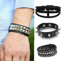 Charm Bracelets Heavy Metal Black PU Leather Bracelet For Men Rock Statement Skull Bangles Gothic Style Personality Jewelry