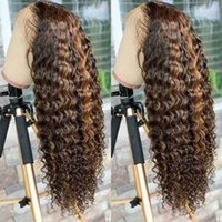 Lace Wigs Brazilian Deep Wave Frontal Wig P4 27 Highlight Curly Human Hair For Women Prepluck 30 32 Inch Front 13x4