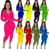 2021 Autumn Winter Women's Long Sleeve Solid Color Yoga Hooded Zipper Jacket Women Sports Tracksuits Pants Two-piece Set Jogging Suits