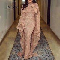 Rebicoo Plus Size Long Sereia Night Party Dress Mulher 'Sexy Barco Neck Party Sequin Vestido Y0118