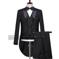 Men's Suits & Blazers Classic Black Morning Suit Men Set Slim Fit Wedding Groomsmen Groom Tailcoat Plus Size Formal Blazer Tuxedo Jacket Pan