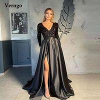 Party Dresses Verngo 2021 Glitter Black Green Purple Blush Pink Sequin Prom Long Sleeves V Neck Satin Skirt Slit Formal Evening Gowns