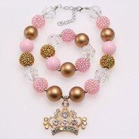 Bracciali della collana della collana del pendente della corona della corona della moda per le ragazze Baby Chunky Bubblegum Gioielli Set di gioielli del bambino Regali del partito