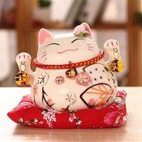 4,5-Zoll-Keramik-glückliches Niedliche Katze Hauptdekor Porzellan Ornamente Hochzeitsgeschenke Büro-Tisch Fortune Katze Geldbox Feng Shui Handwerk