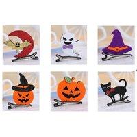 Halloween Baby Witch Sombrero Play Clips Kids Girl Ghost Horquillero Horquillero Skeleton Bat Barrettes Pines Headwear Accesorios HHD8829