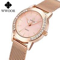 WWOOR Frauen Uhren Neue Stilvolle Strassuhr für Frauen Top Luxus Rose Gold Damen Quarz Armbanduhr Relogio Feminino 210310