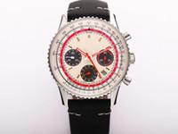 V9 produz B01 Relógio Aviação Swissair Twa Blue Face - PAN AM 43MMX15mm 7750 Movimento Mad Horse Leather Watchband