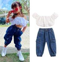Clothing Sets 1-5Y Summer Fashion Baby Girls Clothes 2pcs Lace Floral Off Shoulder Short Sleeve T Shirts Blue Denim Pants Tracksuit